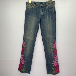 Lilly Pulitzer Jeans Size 4 Embroidered Flowers